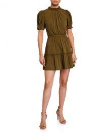 Alice   Olivia Vida Puff-Sleeve Tiered Dress at Neiman Marcus
