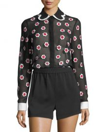 Alice   Olivia Willa Floral-Embroidered Long-Sleeve Sheer Shirt at Neiman Marcus