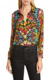 Alice   Olivia Willa Floral Pleated Placket Silk Blouse   Nordstrom at Nordstrom