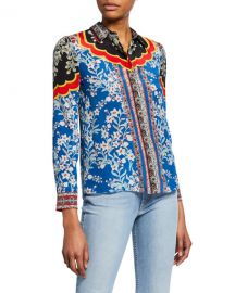 Alice   Olivia Willa Floral-Print Button-Down Long-Sleeve Silk Shirt at Neiman Marcus