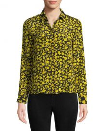 Alice   Olivia Willa Floral Print Silk Shirt at Neiman Marcus