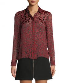 Alice   Olivia Willa Leopard Burnout Placket Top at Neiman Marcus