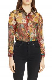 Alice   Olivia Willa Metallic Silk Shirt   Nordstrom at Nordstrom