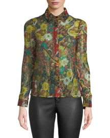 Alice   Olivia Willa Placket Top at Neiman Marcus