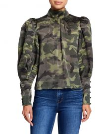 Alice   Olivia Winslet Camo Print Long Cuff Tunic Blouse at Neiman Marcus