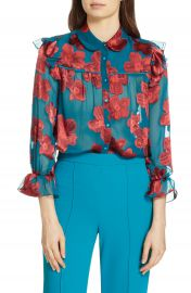 Alice   Olivia Ziggy Ruffle Sleeve Blouse   Nordstrom at Nordstrom