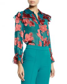 Alice   Olivia Ziggy Ruffle-Sleeve Blouse at Neiman Marcus