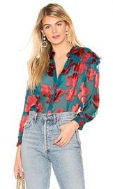 Alice   Olivia Ziggy Ruffle Sleeve Blouse in Daisy Teal  amp  Cherry from Revolve com at Revolve