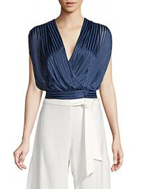 Alice   Olivia by Stacey Bendet - Briella Striped Wrap Blouson Top at Saks Off 5th