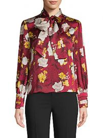 Alice   Olivia by Stacey Bendet - Crogran Floral Silk Tie Blouse at Saks Off 5th