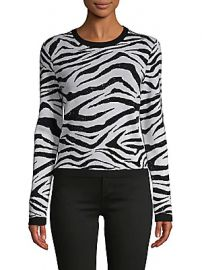 Alice   Olivia by Stacey Bendet - Zebra-Print Wool-Blend Sweater at Saks Off 5th