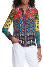 Alice   Olivia x Carla Kranendonk Willa Patchwork Silk Blouse   Nordstrom at Nordstrom