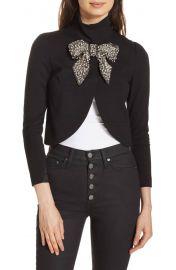 Alice + Olivia Addison Embellished Bow Crop Jacket at Nordstrom