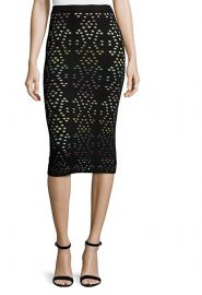 Alice Olivia Ani Laser-Cut Multicolor Pointelle Knit Pencil Skirt  at Amazon