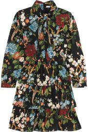 Alice Olivia Breann tiered floral-print satin-crepe dress at Net A Porter