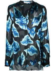 Alice Olivia Leaf Print Sheer Shirt - Farfetch at Farfetch