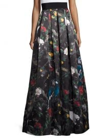 Alice Olivia Pleated Floral Ball Skirt in Charmed Forest at Neiman Marcus