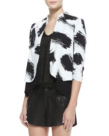 Alice Olivia York Brush-Print Cropped Crepe Jacket  at Neiman Marcus