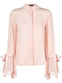 Alice Olivia flounce-sleeved Concealed Silk Shirt - Farfetch at Farfetch