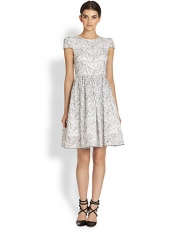 Alice and Olivia - Aubree Fit-and-Flare Lace-Print Dress at Saks Fifth Avenue