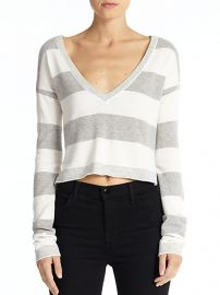 Alice and Olivia - Cropped Striped Sweater at Saks Fifth Avenue