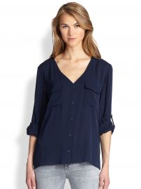 Alice and Olivia - Donnie Silk Button-Front Blouse in Navy at Saks Fifth Avenue
