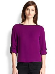 Alice and Olivia - Leather-Trimmed Roll Sleeve Top at Saks Fifth Avenue
