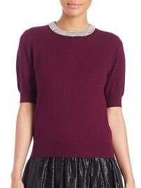 Alice and Olivia - Pandora Embellished Wool-Blend Sweater in Aubergine at Saks Fifth Avenue