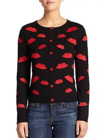 Alice and Olivia - Pout Embroidered Lips-Patterned Wool Cardigan at Saks Fifth Avenue