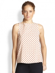 Alice and Olivia - Trina Heart-Print Silk Bow-Back Top at Saks Fifth Avenue