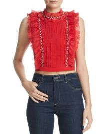 Alice and Olivia Alice   Olivia Gwen Ruffled Embellished Cropped Top   Women - Bloomingdale s at Bloomingdales