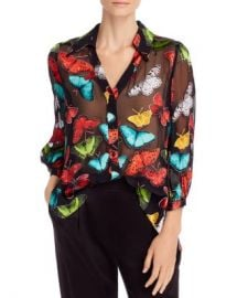 Alice and Olivia Alice   Olivia Sheila Butterfly Burnout Blouse  Women - Bloomingdale s at Bloomingdales