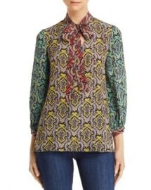 Alice and Olivia Alice   Olivia Sheila Tie-Neck Damask Print Top  Women - Bloomingdale s at Bloomingdales