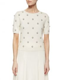 Alice and Olivia Bay Beaded Knit Sweater at Neiman Marcus
