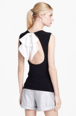 Alice and Olivia Belle Bow Detail Open Back Top in Black at Nordstrom
