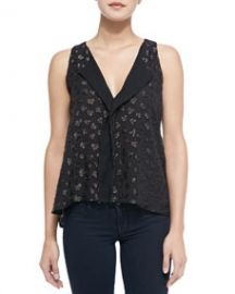 Alice and Olivia Bruden Shimmery-Heart Draped Top at Neiman Marcus