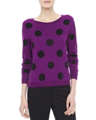 Alice and Olivia Celyn SequinPolka Dot Sweater at Neiman Marcus