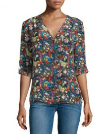 Alice and Olivia Colby Silk Island Watercolor Blouse Multicolor at Neiman Marcus