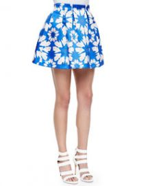 Alice and Olivia Connor Floral-Print Lampshade Skirt at Neiman Marcus