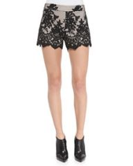Alice and Olivia Contrast Lace Slim Scalloped Shorts at Neiman Marcus
