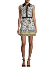 Alice and Olivia Elli Collared Floral Shirtdress Multicolor at Neiman Marcus