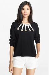 Alice and Olivia Embellished Intarsia Knit Sweater at Nordstrom