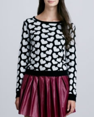Alice and Olivia Emmy Heart-Print Sweater at Neiman Marcus