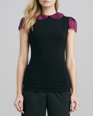 Alice and Olivia Floral-Print and Solid Top at Neiman Marcus