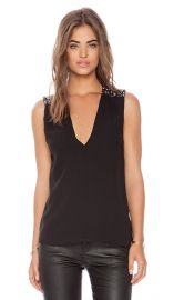 Alice and Olivia Harper Embellished Shoulder Tank in Black  REVOLVE at Revolve