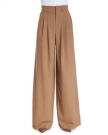 Alice and Olivia High-Waist Pleated Wide-Leg Trousers Camel at Neiman Marcus