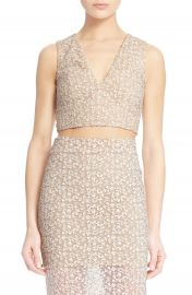 Alice and Olivia Jaya Illusion Lace V-Neck Crop Top at Nordstrom