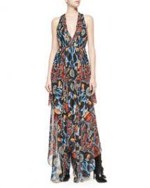 Alice and Olivia Kora Deep-V Printed Dress at Neiman Marcus