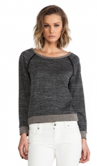 Alice and Olivia Long Sleeve Raglan With Leather Elbow Patch in Black and White  REVOLVE at Revolve