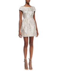 Alice and Olivia Nelly Metallic-Jacquard Short-Sleeve Dress at Neiman Marcus